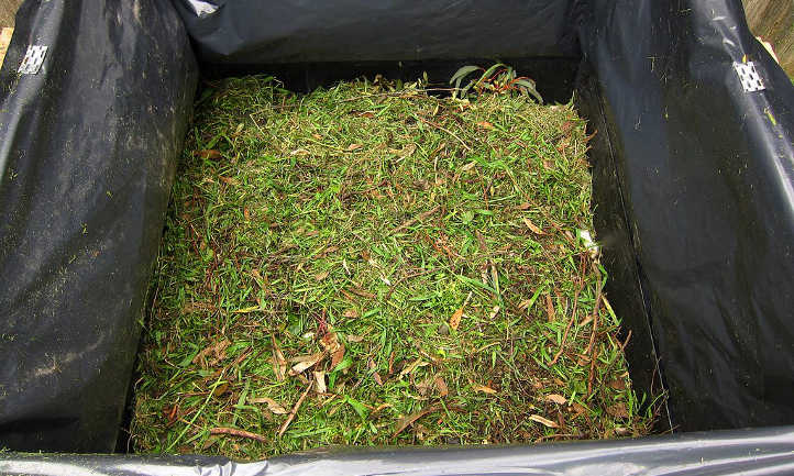 Use of grass clippings within the backyard
