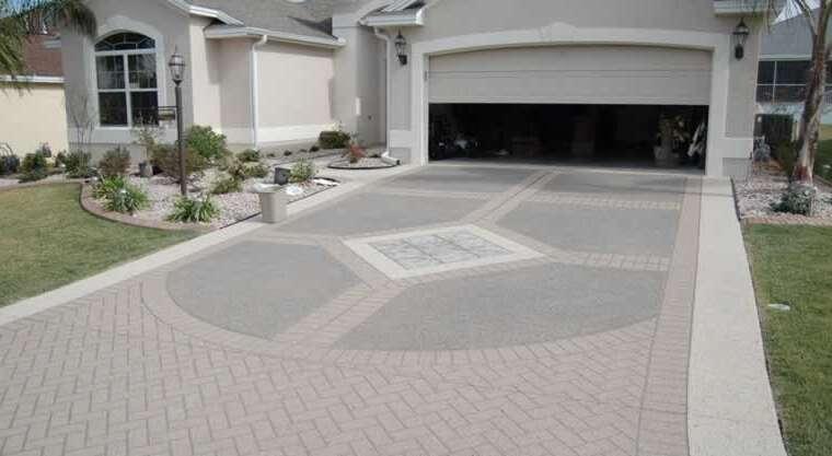 Fashionable concrete driveway surfaces
