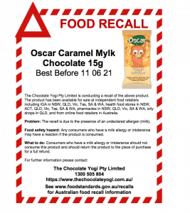 Dairy-free chocolate recalled